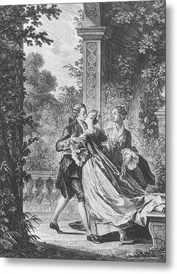 The First Kiss Of Love Metal Print by Jean Michel the Younger Moreau