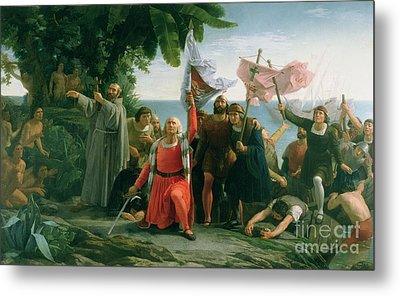 The First Landing Of Christopher Columbus Metal Print