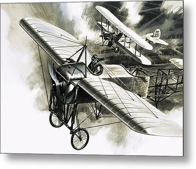The First Reconnaissance Flight By The Rfc Metal Print by Wilf Hardy