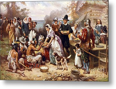 The First Thanksgiving Metal Print by American School