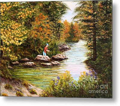 Metal Print featuring the painting The Fisher Boy  by Judy Filarecki
