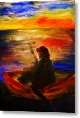 Metal Print featuring the painting The Fisherman by Evelina Popilian