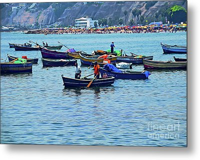 Metal Print featuring the photograph The Fishermen - Miraflores, Peru by Mary Machare