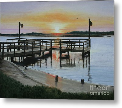 Metal Print featuring the painting The Fishing Pier by Jimmie Bartlett