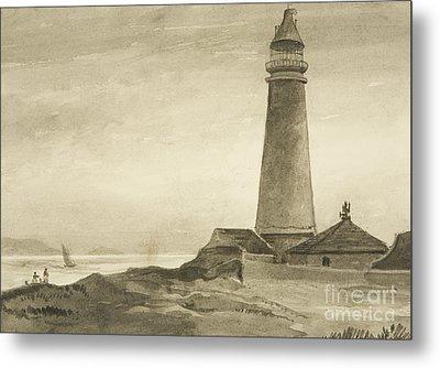 The Flat Holm Lighthouse Metal Print by John Reverend Eden