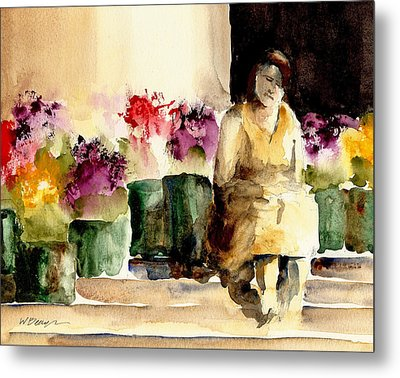 The Flower Lady Metal Print