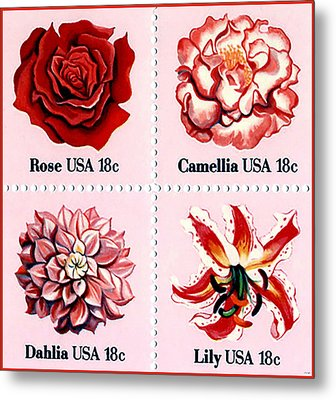 The Flowers Stamps Metal Print