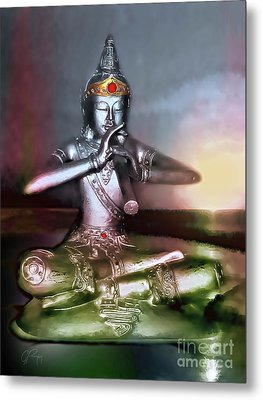 The Flute Player - Sunrise Melody Metal Print