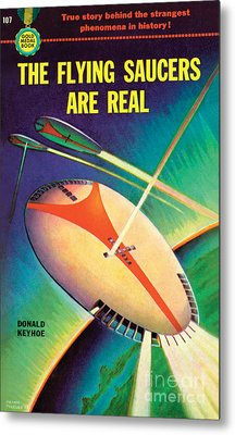 Metal Print featuring the painting The Flying Saucers Are Real by Frank Tinsley