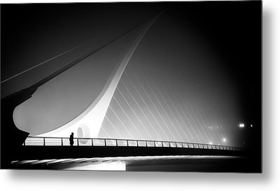 The Foggy Bridge - Dublin, Ireland - Black And White Street Photography Metal Print by Giuseppe Milo
