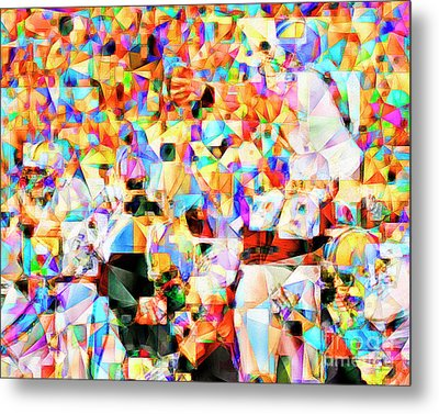 Metal Print featuring the photograph The Football Longest Yard In Abstract Cubism 20170328 by Wingsdomain Art and Photography