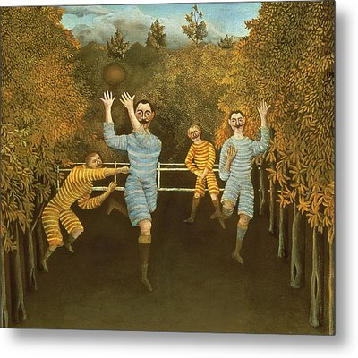 The Football Players Metal Print by Henri Rousseau