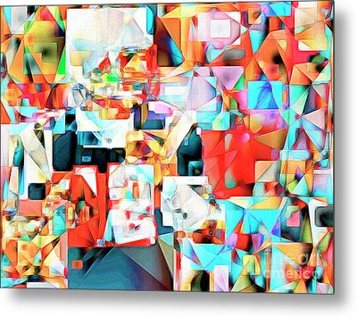 Metal Print featuring the photograph The Football Quarterback In Abstract Cubism 20170328c2 by Wingsdomain Art and Photography
