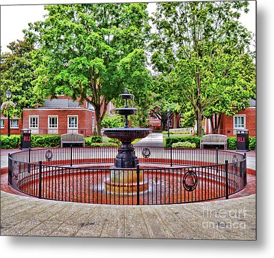 Metal Print featuring the photograph The Fountain At Radford University by Kerri Farley
