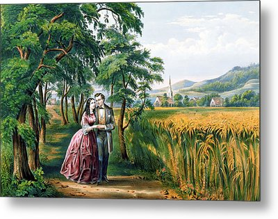 The Four Seasons Of Life  Youth  The Season Of Love Metal Print by Currier and Ives