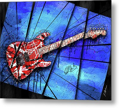 The Frankenstrat On Blue I Metal Print by Gary Bodnar