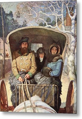 The Fraser Family Dressed Up Warm In The Horsedrawn Carriage Metal Print