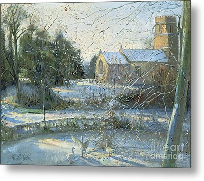 The Frozen Moat - Bedfield Metal Print by Timothy Easton