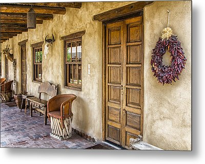 Metal Print featuring the tapestry - textile The Gage Hotel by Kathy Adams Clark