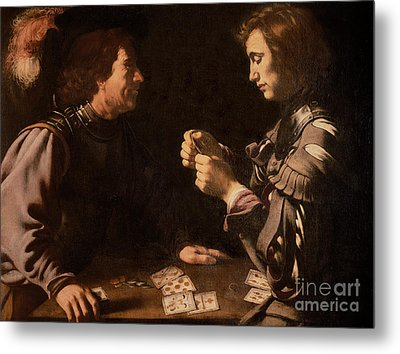The Gamblers Metal Print by Michelangelo Caravaggio