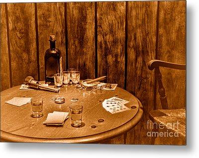 The Gambling Table - Sepia Metal Print