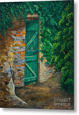 The Garden Gate In Cinque Terre Metal Print by Charlotte Blanchard