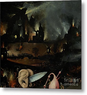 The Garden Of Earthly Delights, Detail Of Right Panel Showing Hell Metal Print by Hieronymus Bosch