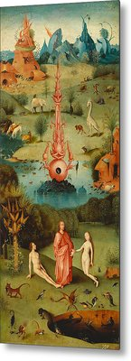 The Garden Of Earthly Delights, Left Wing Metal Print by Hieronymus Bosch