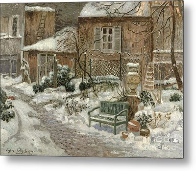 The Garden Under Snow Metal Print by Eugene Chigot