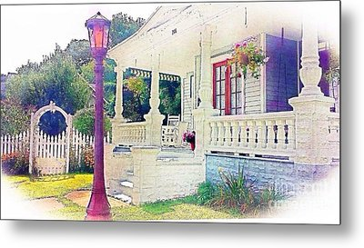 The Gate Porch And The Lamp Post Metal Print by Becky Lupe