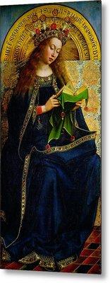 The Ghent Altarpiece The Virgin Mary Metal Print by Jan and Hubert Van Eyck