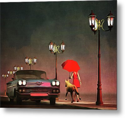 The Girl In Red Metal Print