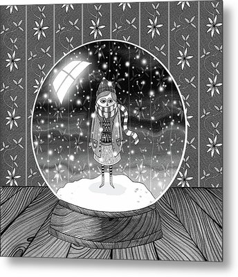 The Girl In The Snow Globe  Metal Print