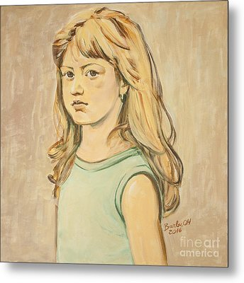 Metal Print featuring the painting The Girl With The Golden Hair by Olimpia - Hinamatsuri Barbu