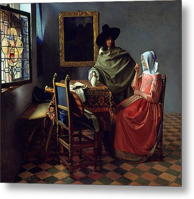 The Glass Of Wine Metal Print by Jan Vermeer