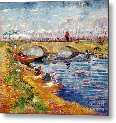 The Gleize Bridge Over The Vigneyret Canal  Metal Print by Vincent van Gogh