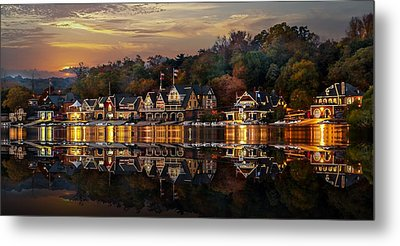 The Glow Of Boat House Row Reflection Metal Print by Gene Rooney