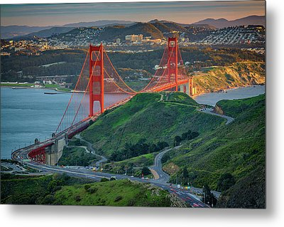 The Golden Gate At Sunset Metal Print by Rick Berk