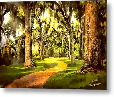 Metal Print featuring the photograph The Golden Road by Kathy Tarochione