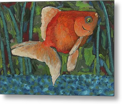 Metal Print featuring the painting The Goldfish Bowl by Susan  Spohn