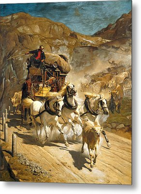 The Gotthard Post Metal Print by Rudolf Koller