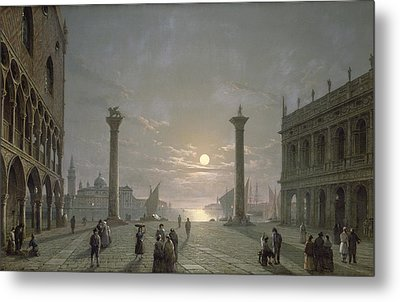 The Grand Canal From Piazza San Marco Metal Print by Henry Pether
