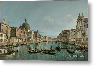 The Grand Canal In Venice With San Simeone Piccolo And The Scalzi Church Metal Print by Canaletto