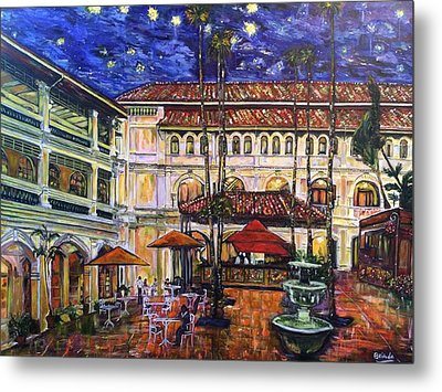 The Grand Dame's Courtyard Cafe  Metal Print by Belinda Low