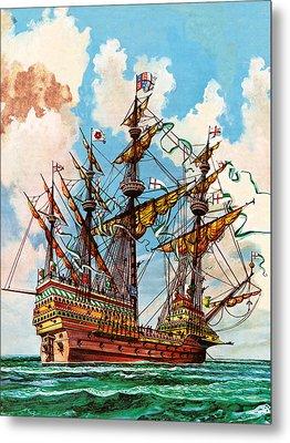 The Great Harry, Flagship Of King Henry Viii's Fleet Metal Print