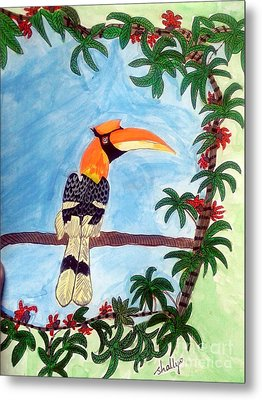 The Great Indian Hornbill- Gond Style Painting Metal Print