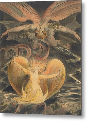 The Great Red Dragon And The Woman Clothed With The Sun Metal Print by William Blake