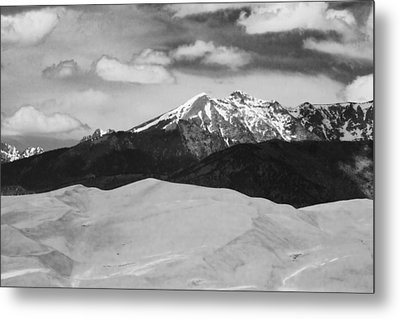 The Great Sand Dunes And Sangre De Cristo Mountains - Bw Metal Print by James BO  Insogna