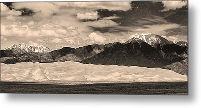 The Great Sand Dunes Panorama 2 Sepia Metal Print by James BO  Insogna