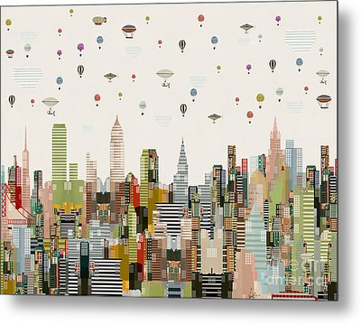 Metal Print featuring the painting The Great Wondrous Balloon Race by Bri B